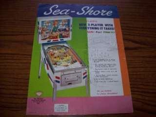 1964 GOTTLIEB SEA SHORE ORIGINAL PINBALL MACHINE SALES FLYER BROCHURE