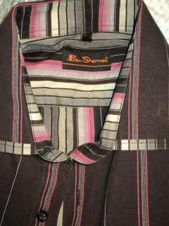 BEN SHERMAN Striped Purple Cotton dress Shirt Sz 3 LRG