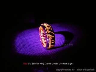 LOTR 24K Gold Plated SAURON Red UV Ring HOBBIT 2011 NEW