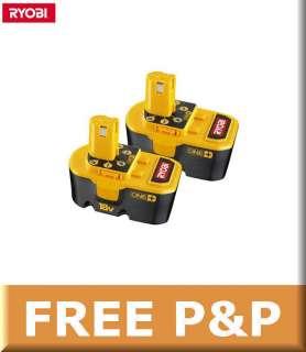 2x RYOBI 18V 1.7Ah Ni Cad Battery BPP1817M, One+ Plus