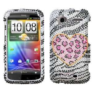Playful Leopard Crystal Diamond BLING Hard Case Phone Cover for HTC