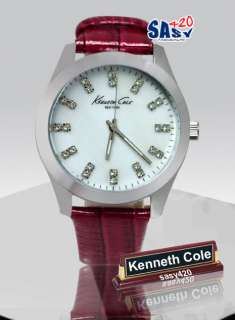 Kenneth Cole New York KC2681 Red leather Silver Tone Womens Watch
