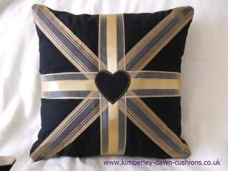 Black Gold Red Ribbon & Fabric Union Jack Flag Cushion