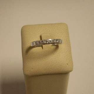Anello donna Oro Bianco 18 kt veretta diamanti gr 2,10