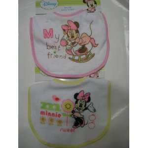 Disney Baby Minnie Mouse Baby Bib ~ 2 pc Assorted Set Baby