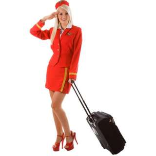 Red Air Hostess Virgin Deluxe Ladies Hen Night Fancy Dress Costume