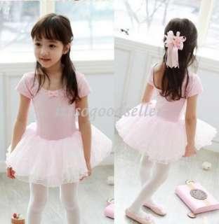 Girl Party Leotard Ballet Tutu Costume Dance Skirt Dress 2 7Y Pink