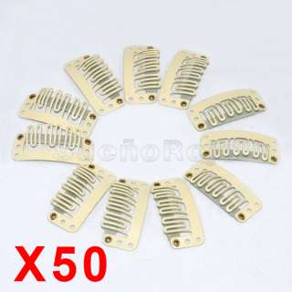 50 X Clips Beige Para Extensiones De Cabello Cortinas Pelo 33mm