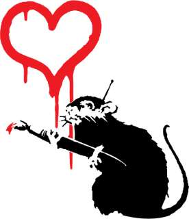 BANKSY RAT & HEART URBAN GRAFFITI ART T SHIRT