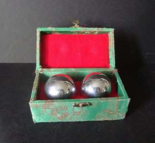 Pair Vintage Chinese Silver Chimes Balls Green Silk Box