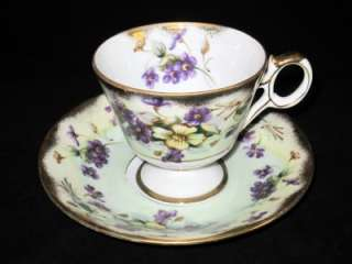 Royal Sealy VIOLET Footed Cup & Saucer, Japan, w/Gold