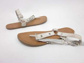 JESSICA SIMPSON White Leather Buckle Sandals Sz 8