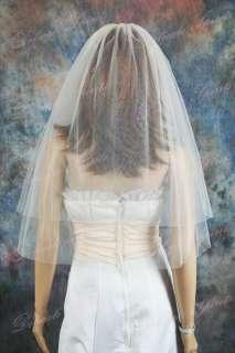 2T Diamond White Plain Elbow Length Wedding Bridal Veil