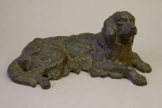 Vintage Bronze Finish Cast Iron Irish Setter Dog Statue Figurine