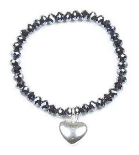 faceted glass heart charm bracelets by ella georgia