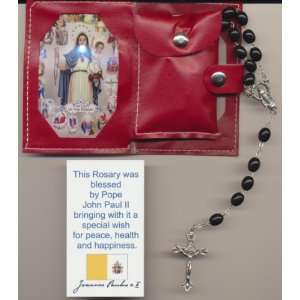 Black Rosary Blessed by Pope John Paul II with Papal Crucifix on 8/17