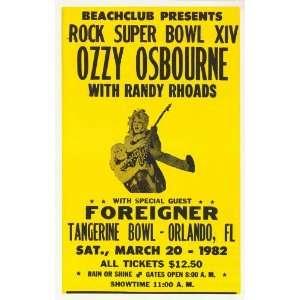 Ozzy Osbourne   Randy Rhoads, Foreigner Concert Poster