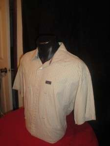 TOMMY JEANS Button Down Casual Dress Shirt Beige White Cross Stripes