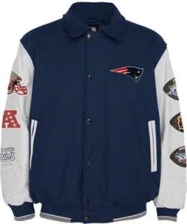 New England Patriots Full Zip Commemorative Wool Varsity Jacket