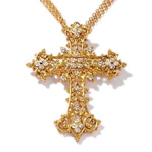 Marvel Crystal Cross Pin/Pendant with 18 3 Row Chain