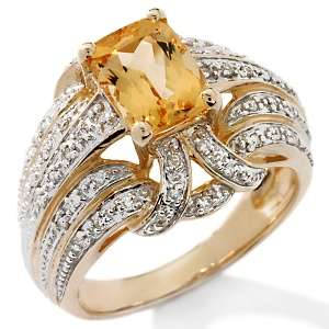 Victoria Wieck 1.79ct Imperial Topaz and Diamond 14K Ring