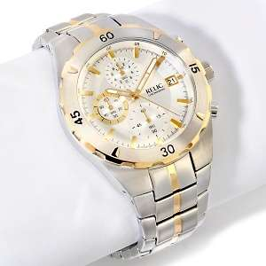 Triple Subdial Chronograph 2 Tone Stainless Steel 8 Bracelet Watch