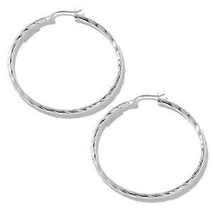 Sterling Silver Diamond Cut Medium Hoop Earrings