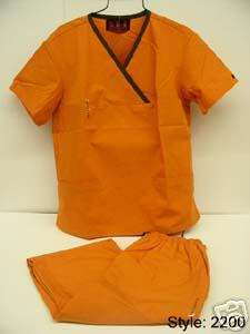 TANGERINE / BROWN MEDICAL NURSE SCRUB UNIFORM #2200 MED