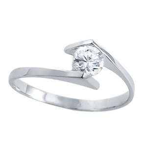 CZ Wedding Band 14k White Gold Engagement Ring (1/2 Carat), Size 5