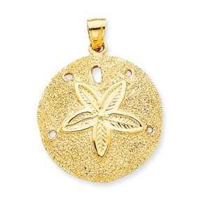 Solid Polished Laser Cut Sand Dollar Pendant [Jewelry]