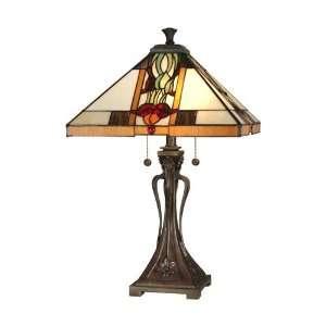Dale Tiffany Antique Bronze Paint Natalie Mission Table Lamp: