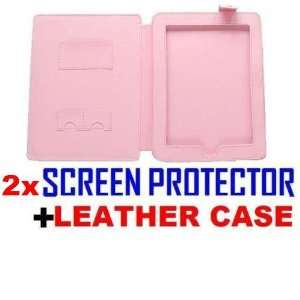 Pink Leather Flip Skin Case Cover For Apple iPad with Two