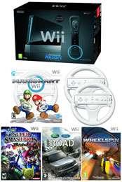 Nintendo Wii Black Console Bundle (Including Wii Sports Resort, Off