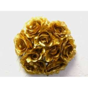 Set of 6 GOLD Rose Flower 3 Candle Rings