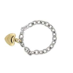 14k White Gold Twisted Oval Link Bracelet w/ Yellow Gold Heart Charm