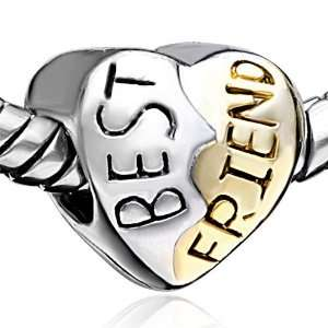 Best Friends Heart Bead Fits Pandora Charms Jewelry