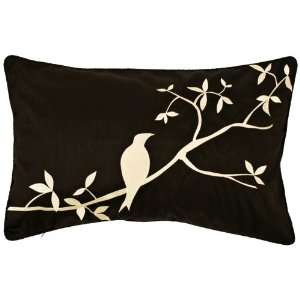 Surya Black and Beige Bird Lumbar Pillow: Home & Kitchen
