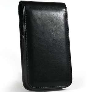 Video Phone Black Slim Flip Cover Leather Carrying Case With Belt Clip