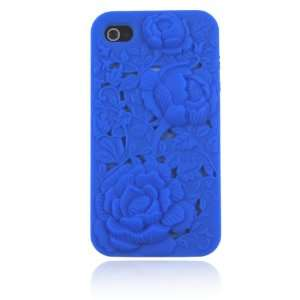 Blue 3 D Rose Flower Silicone Case for Iphone 4 & 4S Cell