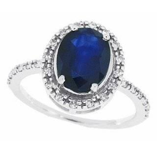 1.58Ct Emerald Cut Genuine Sapphire and Diamond Ring in