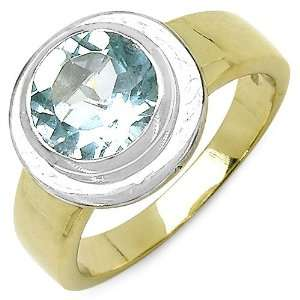 Blue Topaz Duo Tone 14K Yellow Gold Plated Sterling Silver Ring