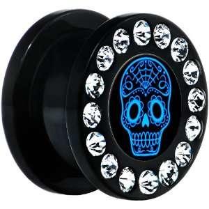 Acrylic Gem Blue Sugar Skull Art Screw Fit Plug Body Candy Jewelry