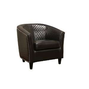 Elenette Black Brown Faux Leather Club Chair