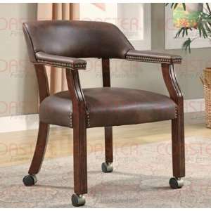 com Guest Chair with Nail Head Trim and Casters in Brown Faux Leather