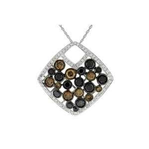 Champagne, Black & White Diamond Necklace in 14k White Gold (TCW 2.22)