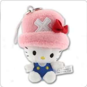 Kitty x One Piece Fluffy Plush Doll Cell Phone Charm (Hello Kitty