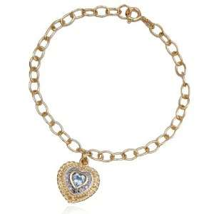 Yellow Gold Plated Sterling Silver Blue Topaz and Diamond Heart Charm