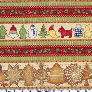 45 Wide Cookie Cutter Christmas Stripe Border Fabric By