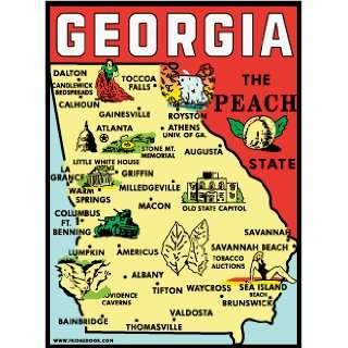 Fridgedoor Georgia State Map Travel Decal Magnet