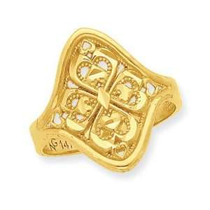 14K Four Heart Cluster Diamond cut Ring Jewelry